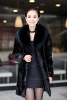 Free shipping 2014 Fashion Fur coat mink overcoat female medium-long fight mink outerwear make in Korea