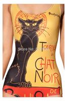 New Fshion hot sexy Black Cat 3d Print Women One Pieces Swim Wear Beachwear Bathing Suit fashion black milk Swimwear
