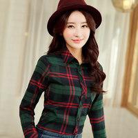 2014 new women's handsome classic plaid shirt female long-sleeved Slim shirt thick