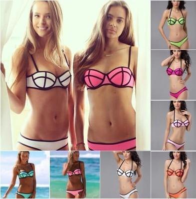 New 2014 Hot swimwear Neoprene swimsuit bikini swimsuit women bikini triangl sexy Woman Swimmer beach Two piece suit bikinis set(China (Mainland))