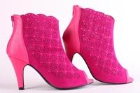 Clearance Sales Summer fashion ultra high heels sandals back zipper open toe cutout women's shoes rhinestone wedding shoes