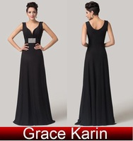 Elegant Grace Karin A-line Sleeveless Deep V-Neck Wedding Party Ball Vestidos Prom Long Formal Evening Dress Black AL16 CL6159