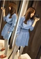 [R-262] Free shipping 2014 Women Korean denim dress Hitz  big buttons denim Slim waist dress