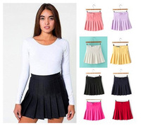 2014 American Apparel Pleated Tennis Skirt  Fashion Women Solid A-line Skirts Lady Mini Skirt Candy Color Plus size
