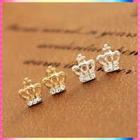 Rigant 2015 New Arrival Crown Stud Earrings With Zirconia Top Quality Acessories Brincos De Diamante