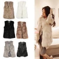 Chic Lady Faux Fur Vest Winter Warm Silm Coat Outwear Long Hair Jacket Waistcoat