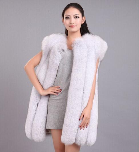 Brand Hot Sale Women Genuine Fox Fur Vests Gilets Fashion Natural Women's Fur Waistcoats Real Fur Jackets Long Luxury BF-V0012(China (Mainland))