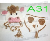 free shipping,Crochet Baby White/pink cows hats,Diaper Cover set. Baby dairy cattle caps and shorts set Newborn Photo Prop NB-3M