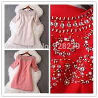 2014 Luxury Ladies DRESS Handmade Beading Woolen  Winter DRESS  Party Women's Dresses