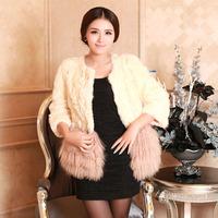 Haining 2014 Free Post Fashion Plaid wool fur fashion wool coat wool stitching