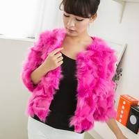 2014 Haining free postage Cotton Flax fox fur short coat leg hair Korean round neck Women Discounted