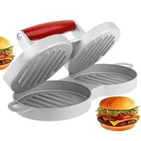 Double Burger Meat Press Metal Aluminum Round Patty Mold Maker Imprensa Hamburguer