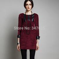women casual winter dresses sexy patchwork sheath new 2014 autumn above knee dress long sleeve o-neck pencil office dress 5XL