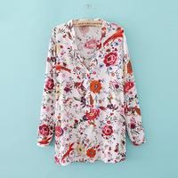 ZA brand new fall 2014 European and American style V-neck long-sleeved shirt printing