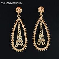 2014 Fashion Brand Jewelry Luxury Color Rhinestone Pendant Earrings Eiffel Tower Earrings