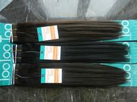 "free shipping premium too human hair yaki straight weft Premium TOO yaki  hair 14"" 1# 2pcs factory on sale"