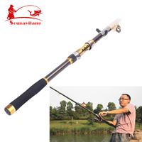 2014 New ! Portable Telescope Fishing Rod Carbon Spinning Casting Rock Fishing Pole Stick Fishing Rod For Sea Boat Fishing