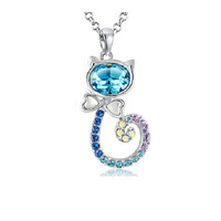 CDE Cute Crystal Cat Rhinestone Necklace 18K Gold/Rhodium Plated Pendants & Necklaces Made with Swarovski Element