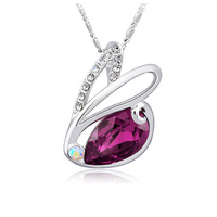 CDE Cute Rabbit Red Crystal Rhinestone Necklace Made with Swarovski Element Womens Necklace Fashion 2014 Birthday Gifts