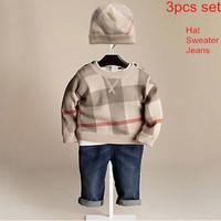 New Arrivals 2014 Autumn-Winter Brand Children's Boys Clothing Sets Kids Boys 3 pieces Suit Hat + Sweater + Jeans