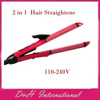 New arrive! 2 in 1 Hair Straightening Hair Straightener Iron  Hair Curler  Free drop shipping