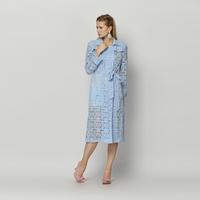 YIGELILA 9258 Latest Autumn New Women Elegant Baby Blue Belt Lace Trench Coat Free Shipping