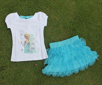 Девушки 2 шт. комплект голубой слоистых пачка платье устанавливает комплектов одежды ...