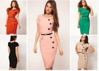 new 2014 fashion Summer women dress short Sleeve Casual Cap Sleeves Button Belt Decoration Midi Dress  LC6410 Plus Size S M L XL
