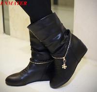 ENMAYER  2015 Fashion Women Snow Boots for women Sexy Shoes Hidden Wedge   Martin Boots Big Size 34-43