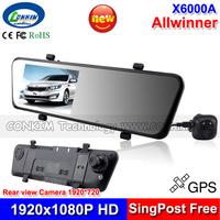 "Arrival Car Rear View Mirror Camera Recorder Dual Lens DVR Car Black Box 4.3"" LCD +1920*1080P HD Rear Lens 1920*720P HD +GPS"
