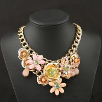 Ожерелья & Подвески новой смолы кристалл цветок Винтаж колье заявление ожерелье ювелирные изделия для женщин