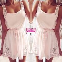 Fashion women Summer Casual Dress 2014 New Elegant Sleeveless Tunic Rhinestone mini Women party dresses Pink free shipping