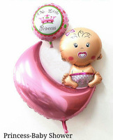 FREE SHIPPING/ New Style 2014 Hot Selling /Princess Baby Shower Mylar Foil Balloons