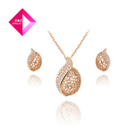 2014 latest fashion rose gold leaf earrings + necklace hollow suit, Chrismas /Birthday gift,gemstone jewelry