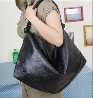 New fashion women handbag leisure shoulder bag, simple black PU leather messenger bag, women handbags