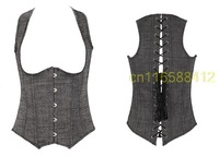 Sexy Lingerie gray Top Women Clubwear corset corselet steampunk gothic corpete bustier   OLN-0840
