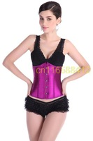 Sexy Lingerie  Black  Whiet Top Women Clubwear corset corselet steampunk gothic corpete bustier  purple(out stock)