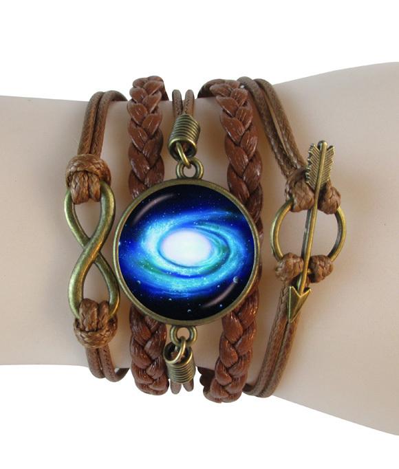 new fashion multilayer leather bracelet galaxy cabochon bracelet infinity charm bracelets cuff wristband bangle for women men(China (Mainland))