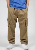 2014 men khaki army green cargo pants spring autumn plus size casual cotton fat loose long trousers oversize xxl 3xl 4xl 5xl 6xl
