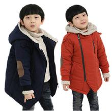 Kids 2014 children cotton-padded jacket diagonal zipper jacket plus thick cashmere wool coat jacket(China (Mainland))