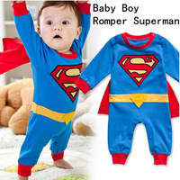 Free Shipping Hot! Baby Boy Romper Superman Long Sleeve with Smock Halloween Costume Gift Boys Rompers Spring Autumn Clothing