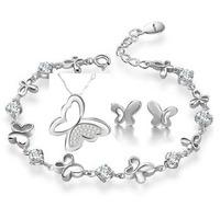 100% Silver 925 AAA Jewelry Sets for Women Butterlfy Set Necklace+Earring+Bracelet Solid Silver Free Shipping JN27JE42JB19W