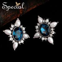 Special Earrings Heavy Alloy Sri Lanka Synthesis Zircon Man Made Pearl Synthesis Diamonds Jewelry Retro FreeShipping ED141175