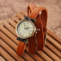 Free shipping High Quality Women Genuine Leather Vintage Quartz Dress Watch Bracelet Wristwatches Butterfly Women leather watch