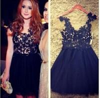 vestidos femininos casual  free shipping 2014  Black flower lace sexy dress women dress beautiful vestidos de festa clothing