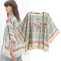 Fashion Women Blusa Chiffon Floral Kimono Cardigan Tassel Regular Print Blouse Shirt Mujer Ropa Camisas Femininas Blusas De Gasa