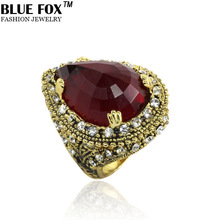 Luxury Mansion Crimson Teardrop shaped Zircon Engagement Big Ring Blue Fox Jewelry Bohemian Vintage Style 2014