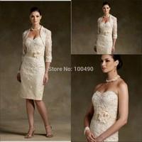 Sheath/Column Bateau Knee-length Champagne Short cocktail dresses lace mother of the bride dresses
