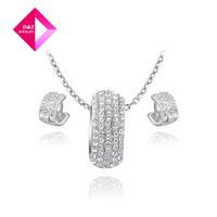 2014 new fashion small diamond earrings + Platinum Necklace Set, Chrismas /Birthday gift