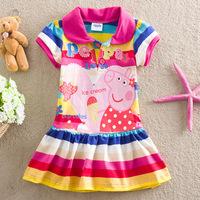 Free shipping,Retail, New summer dress 2014 kids baby girls dresses fashion cotton peppa pig dress children girls dress